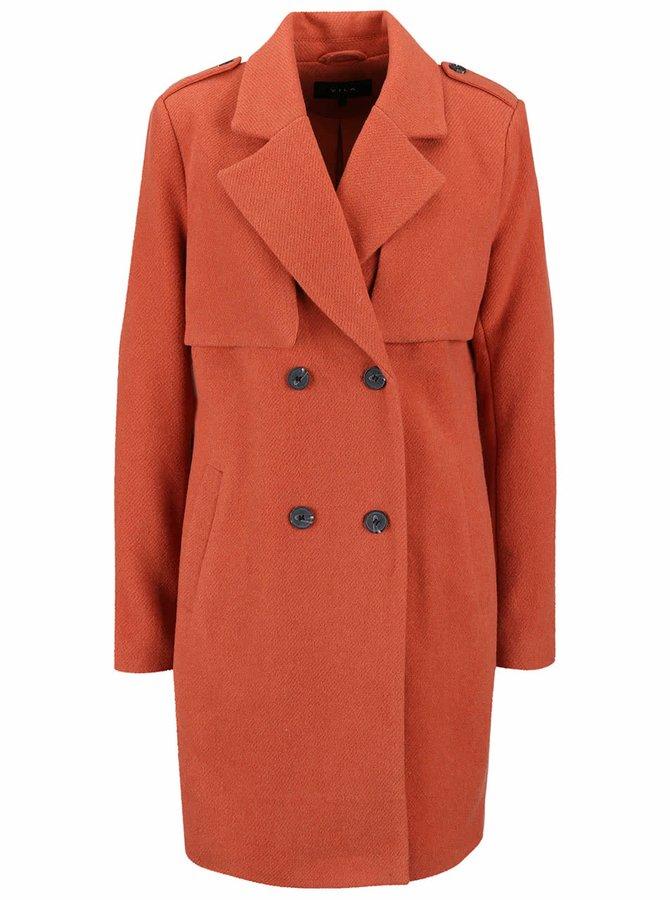 Palton portocaliu VILA Maja cu închidere dublă