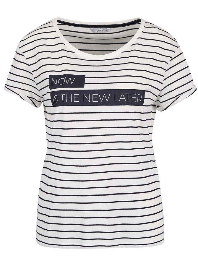 Krémové pruhované tričko s potlačou ONLY Medea