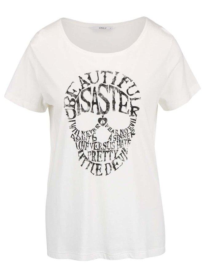 Krémové tričko s potlačou lebky ONLY Cotton