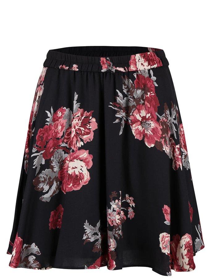 Čierna kvetovaná sukňa VILA Wasson