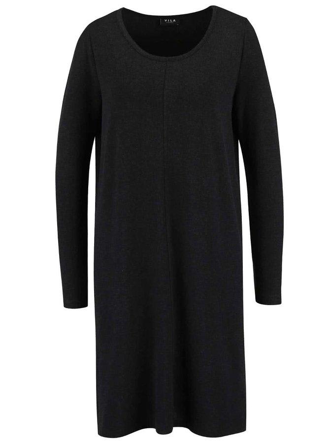Tmavě šedé volnější šaty s dlouhým rukávem VILA Nimas