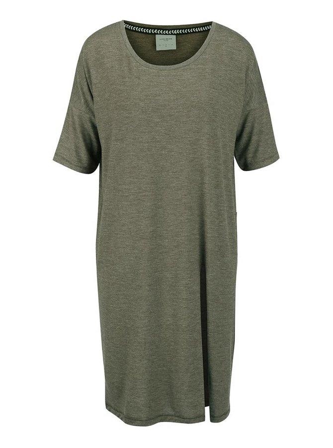 Khaki žíhané volnější dlouhé tričko VERO MODA Ida