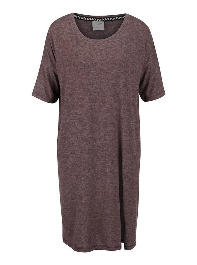 Fialové žíhané volnější dlouhé tričko s rozparkem Vero Moda Ida