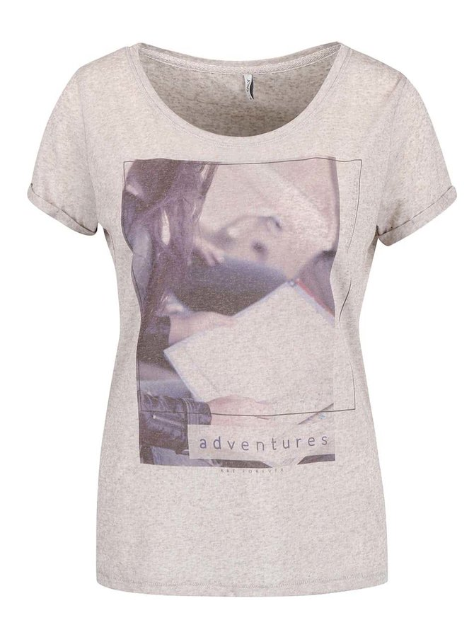 Béžové žíhané tričko s potlačou ONLY Milla