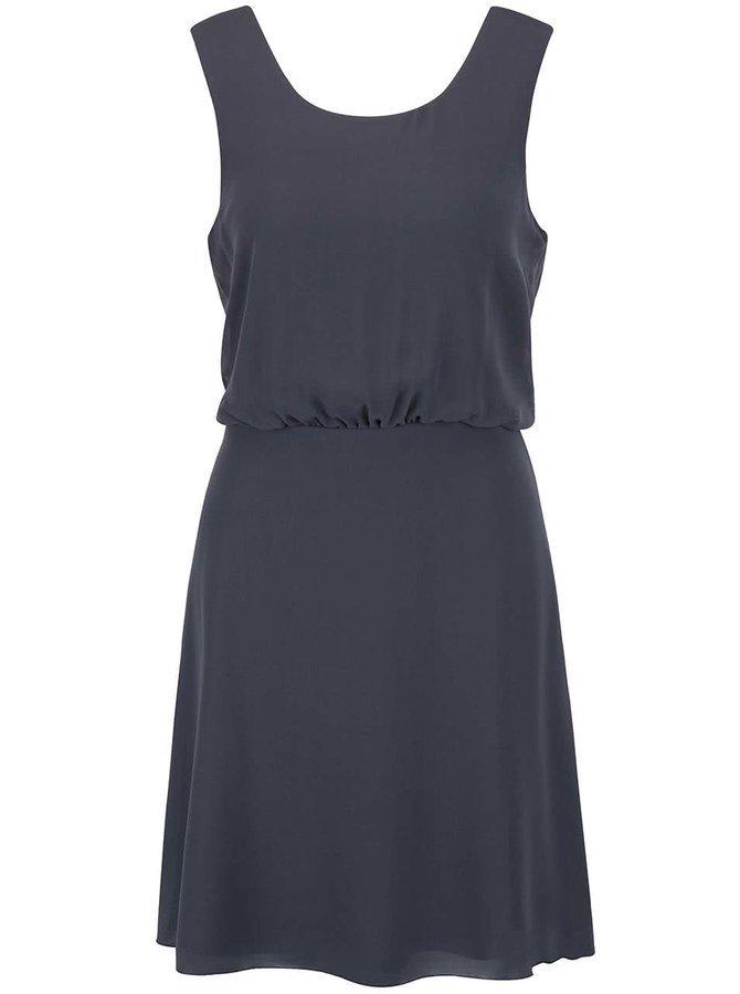 Šedo-modré šaty se stažením v pase a krajkou na zádech VILA Ossa