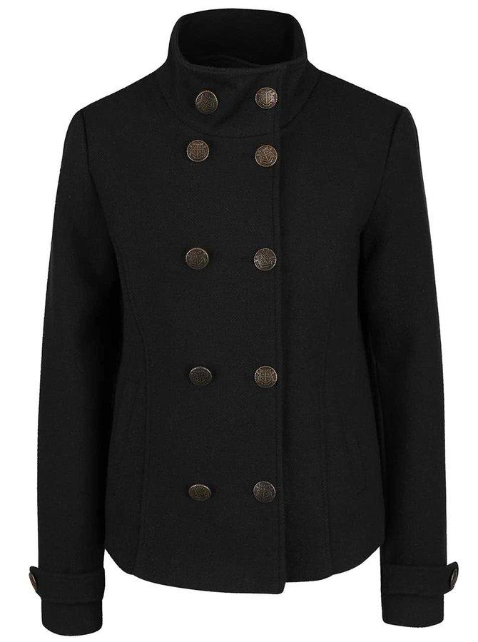 Čierny krateší kabát s golierom ONLY Jenny
