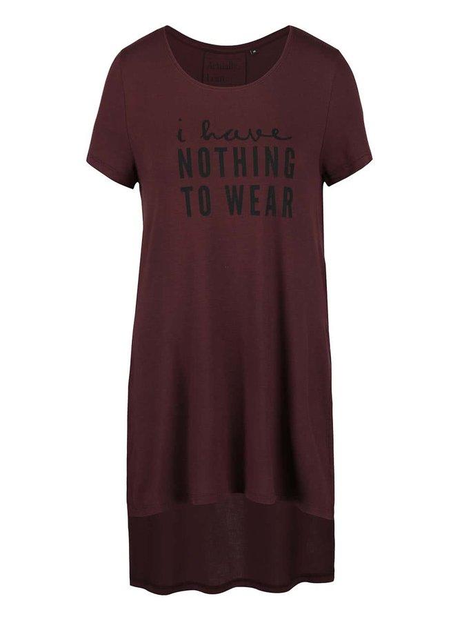 Vínové tričko s potiskem a rozparky ONLY Helena