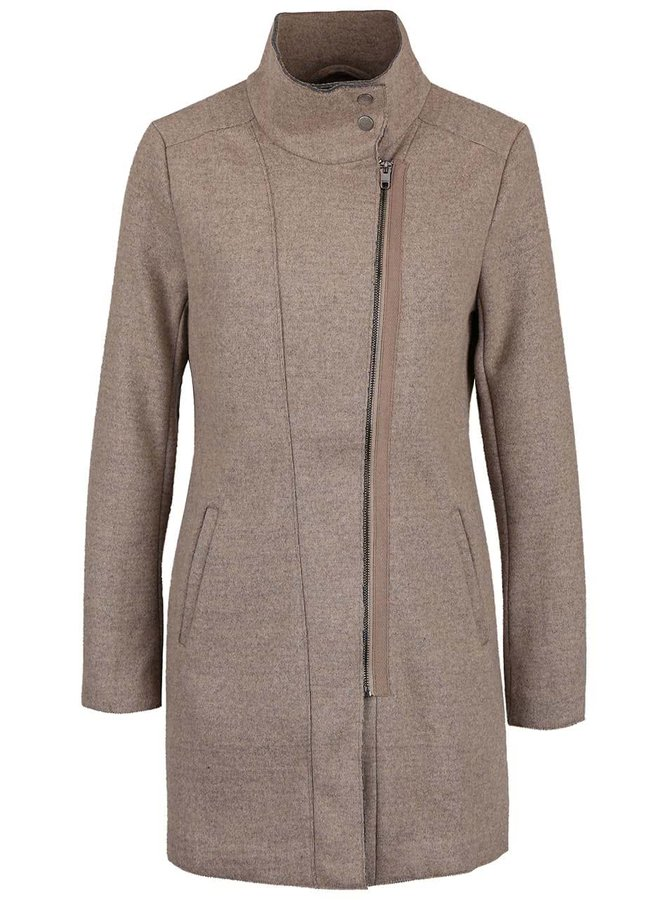 Béžový žíhaný kabát s límcem ONLY Jamie