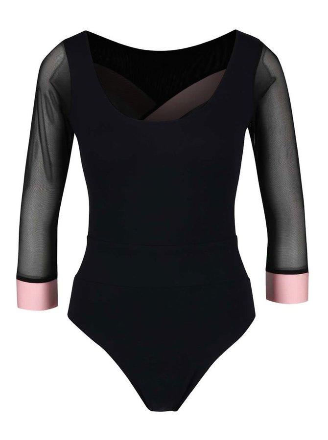 Ružovo-čierne športové body s odhaleným chrbtom a 3/4 rukávmi Quontum