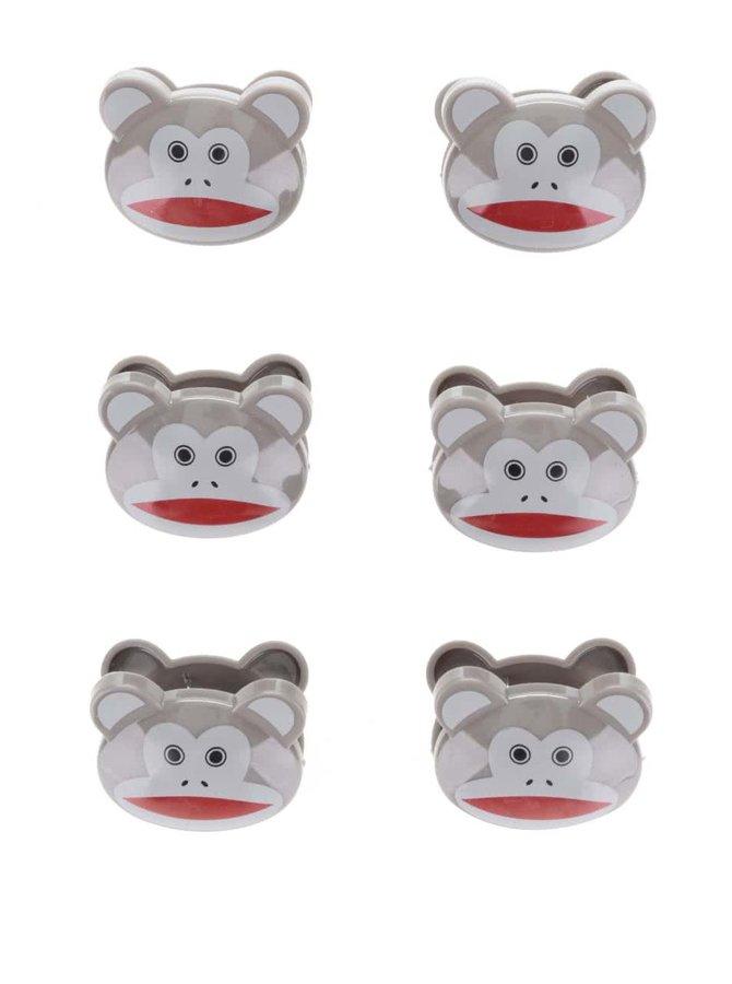 Sada šesti hnědých klipů na sáčky ve tvaru opiček Kikkerland Monkeys