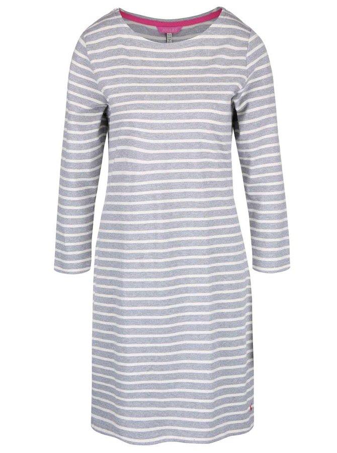 Světle šedé pruhované šaty s 3/4 rukávy Tom Joule Riviera