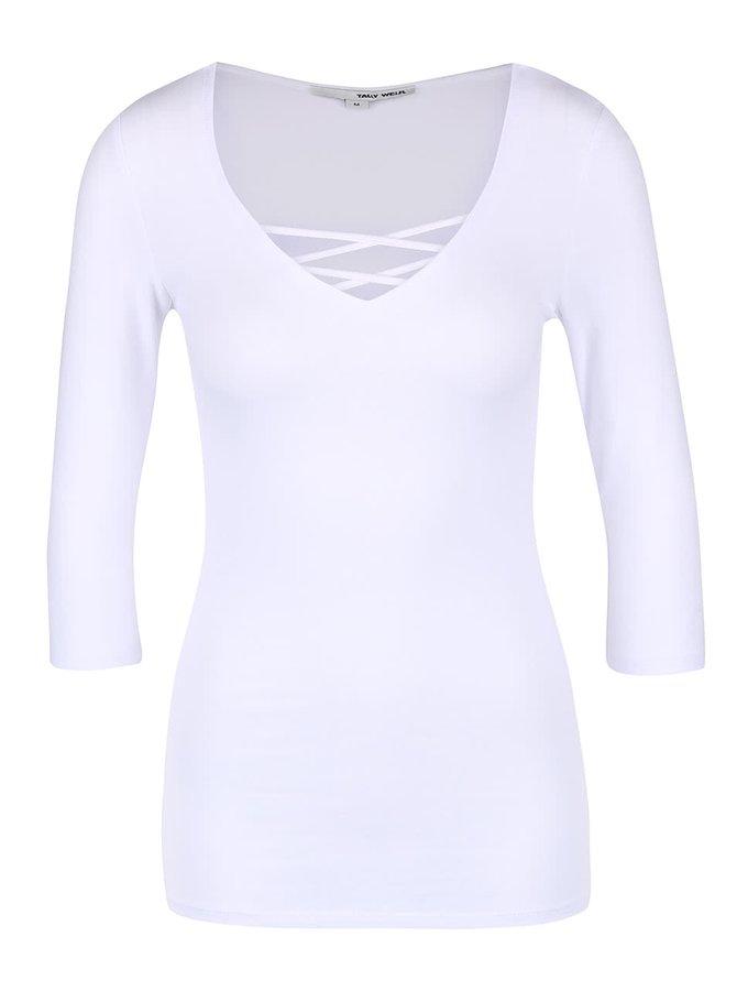 Biele tričko s prekríženými pruhmi v dekolte TALLY WEiJL