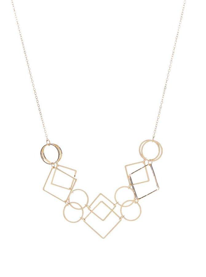 Colier auriu Pieces Line cu pandative geomtrice