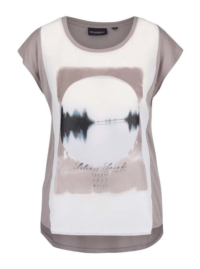 Hnědošedé dámské tričko s potiskem Broadway Olivine