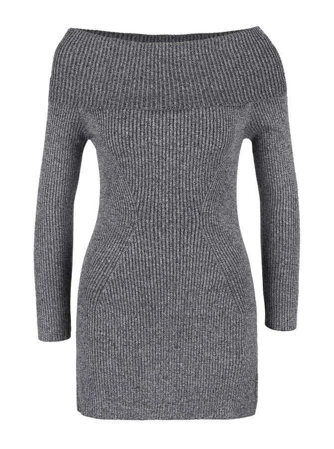 Sivý melírovaný dlhší sveter s odhalenými ramenami TALLY WEiJL