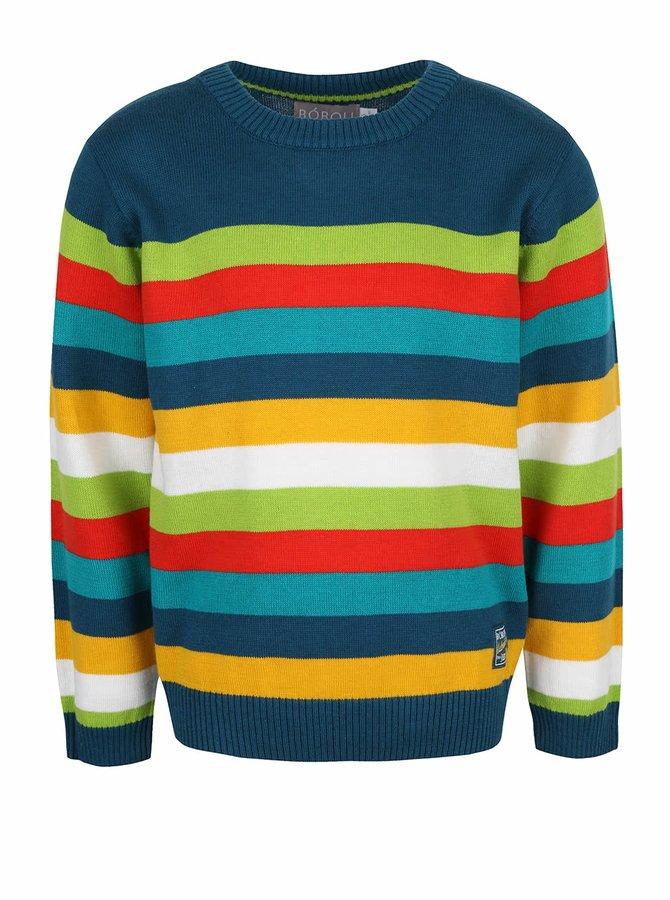Modrý klučičí svetr s barevnými pruhy Bóboli