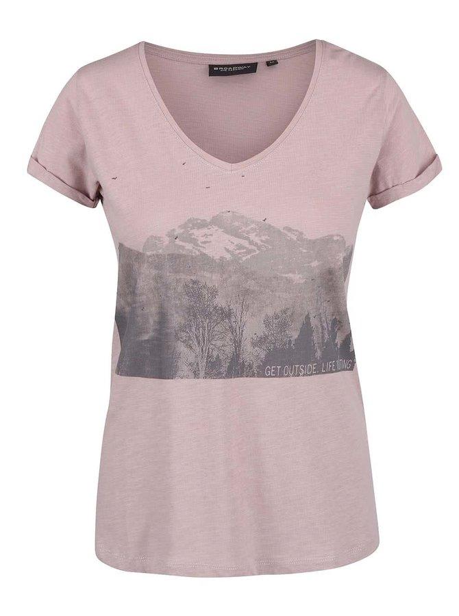 Tricou roz din bumbac Broadway Oriana cu print