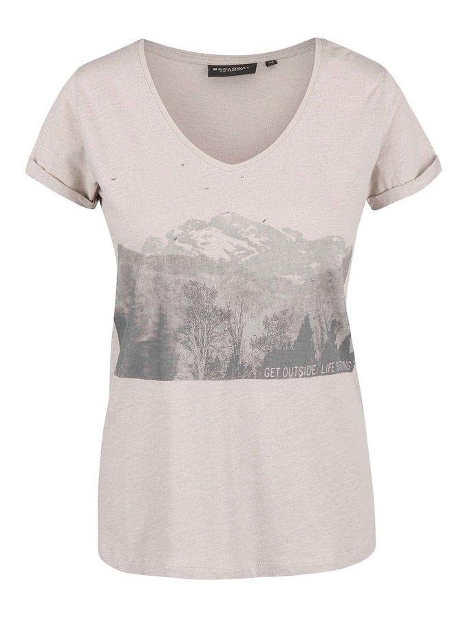 Krémové žíhané dámské tričko s potiskem Broadway Oriana