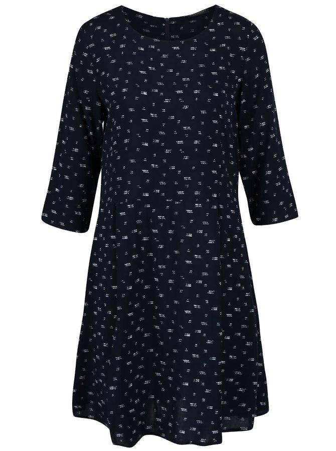 Tmavomodré vzorované šaty s dlhým rukávom Broadway Natasha