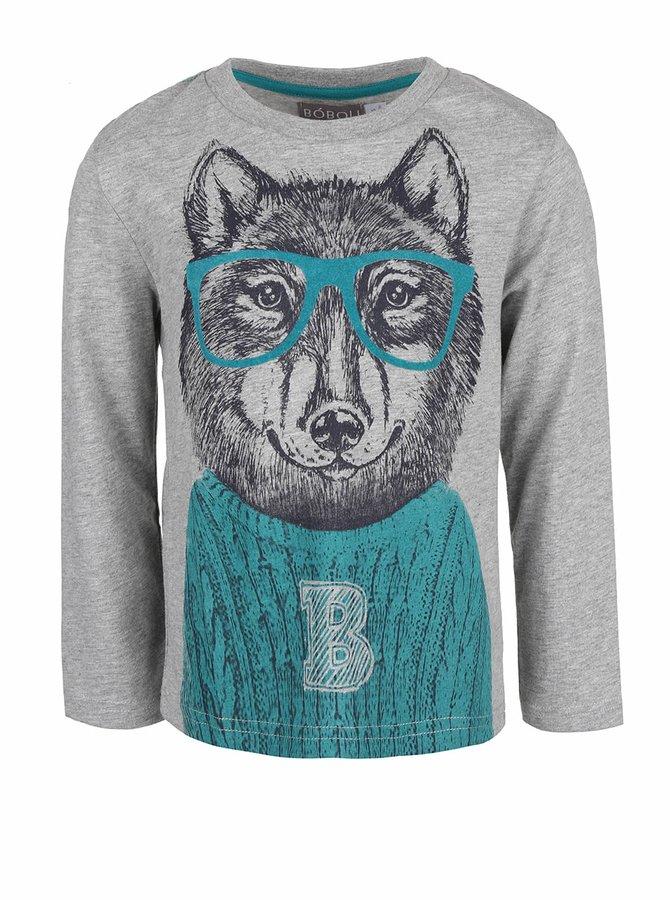 Sivé chlapčenské tričko s potlačou vlka a dlhým rukávom Bóboli