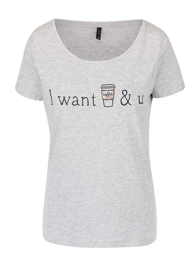 Šedé tričko s potiskem ONLY Relax