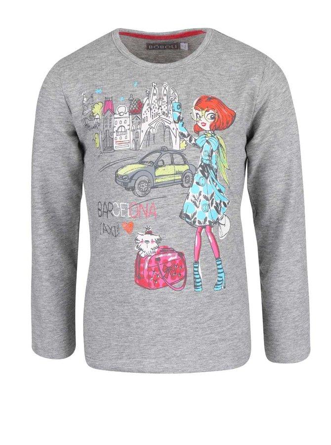 Bluză gri Bóboli Barcelone cu print colorat