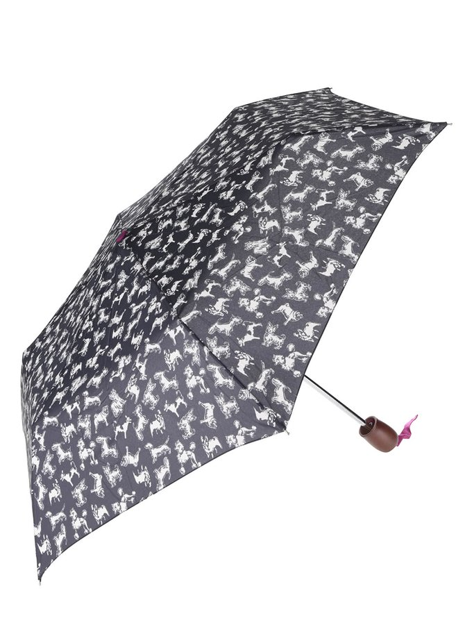 Tmavě modrý skládací deštník s potiskem psů Tom Joule Brolly