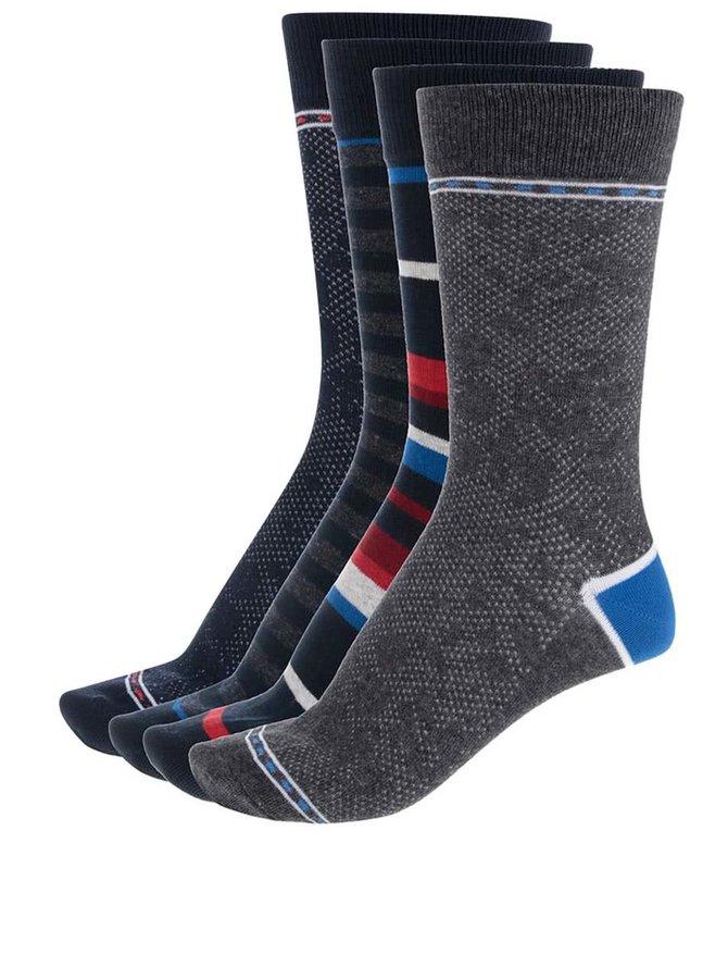 Sada čtyř modrých a šedých vzorovaných ponožek Jack & Jones Noah