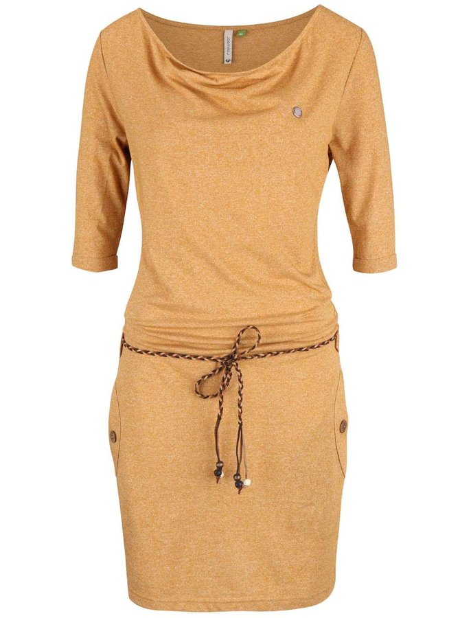 Rochie portocalie Ragwear Tanya Organic cu șnur în talie