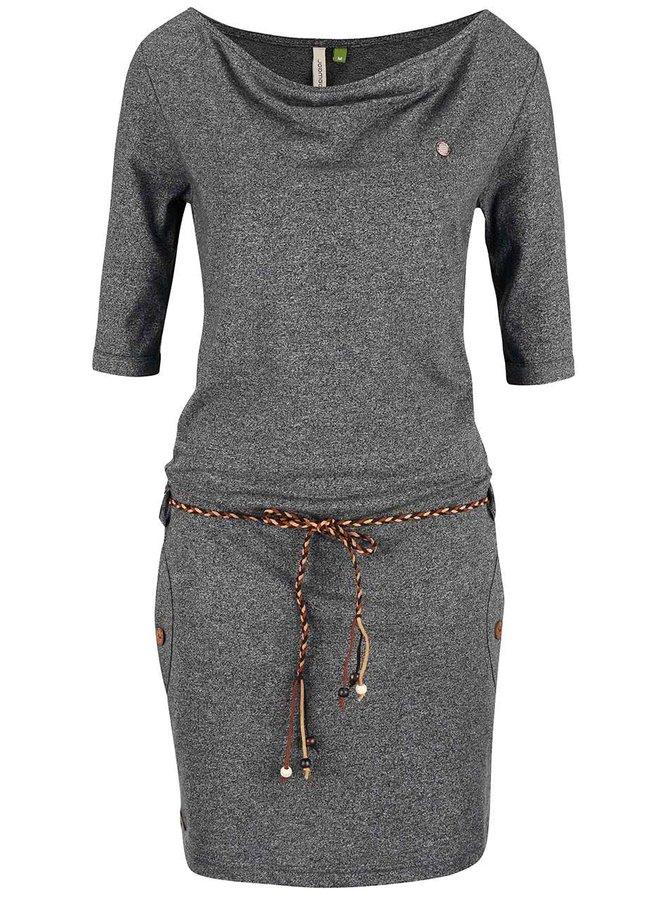 Černé žíhané šaty s páskem Ragwear Tanya Organic