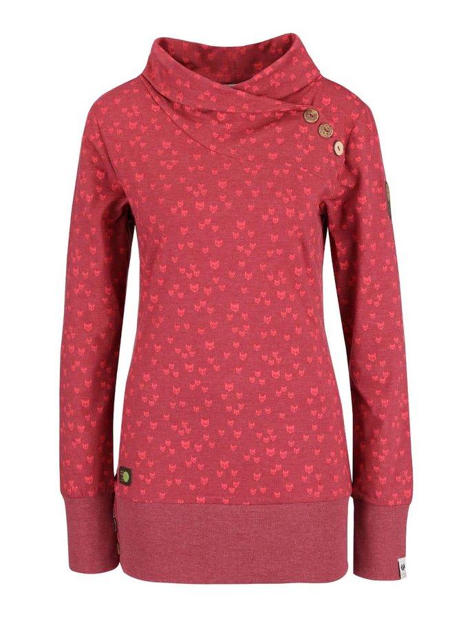 Bluză roșie Ragwear Next Fox Organic cu imprimeu