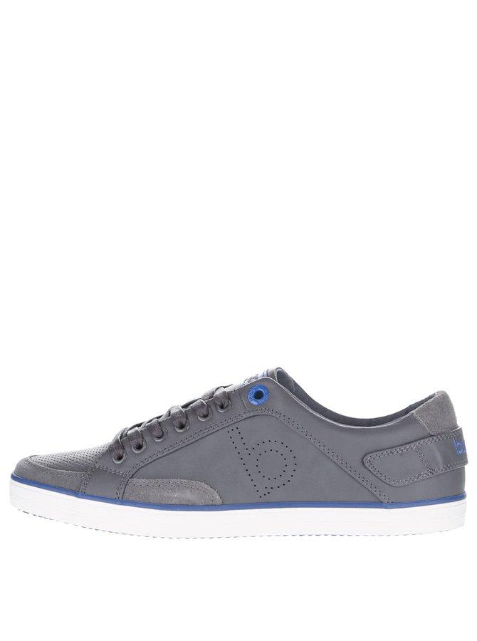 Sivé pánske tenisky s modrými detailmi bugatti