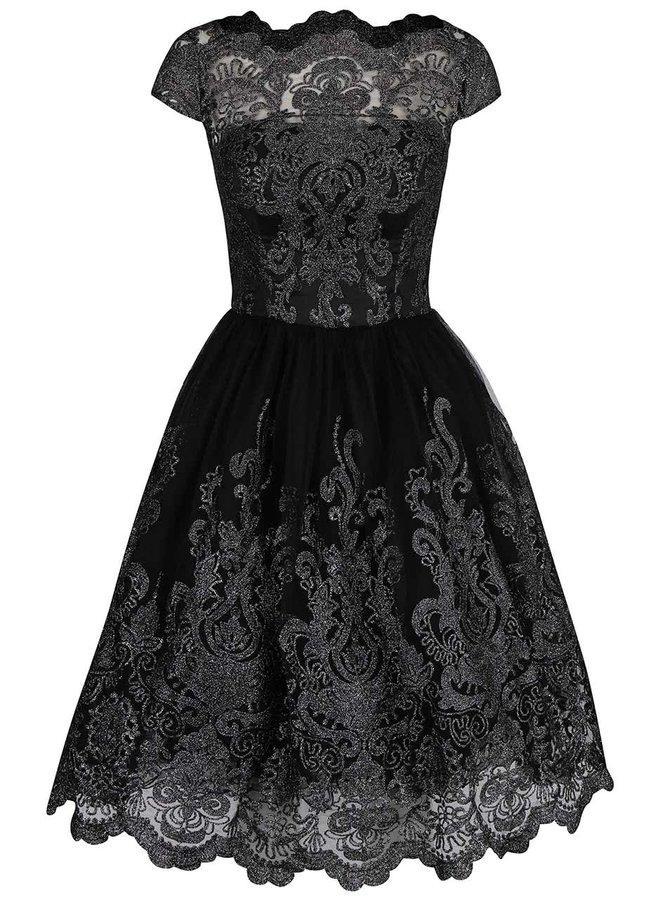 Černé krajkové třpytivé šaty Chi Chi London April