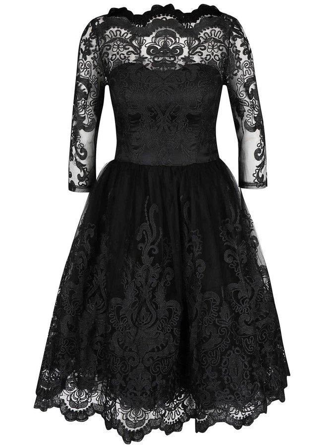 Čierne čipkované šaty s 3/4 rukávmi Chi Chi London Divya