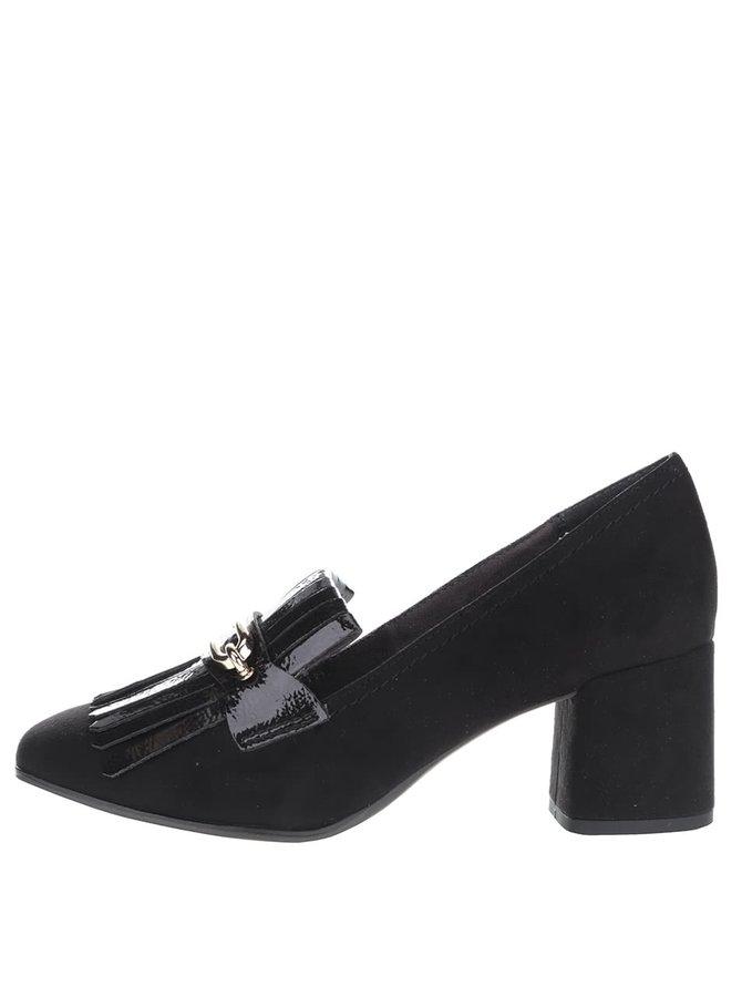 Čierne topánky na podpätku v semišovej úprave s ozdobou Tamaris