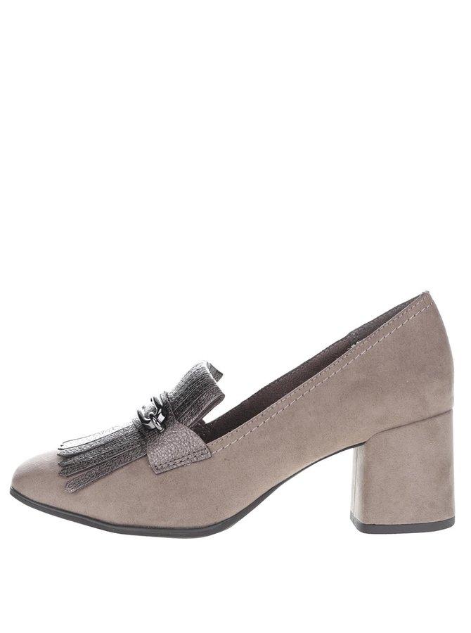 Sivé topánky na podpätku v semišovej úprave s ozdobou Tamaris