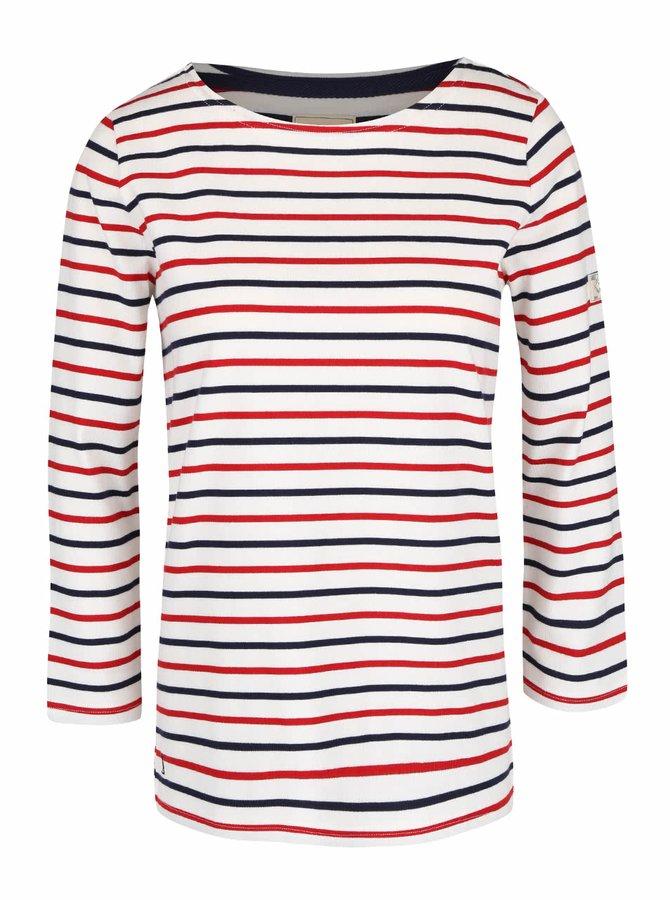 Krémové dámské tričko s modro-červenými pruhy Tom Joule Harbour