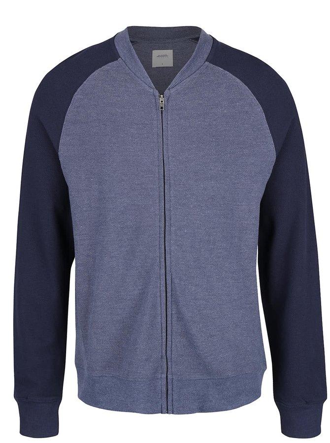 Tmavě modrá lehká mikina na zip Menswear London