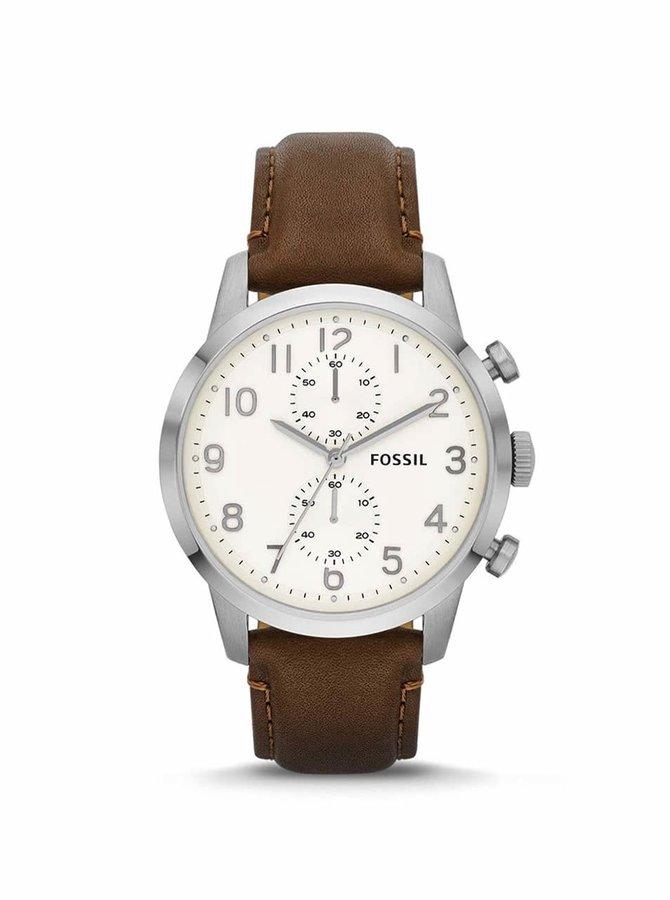 Hnědé pánské hodinky s koženým páskem a arabskými číslicemi Fossil