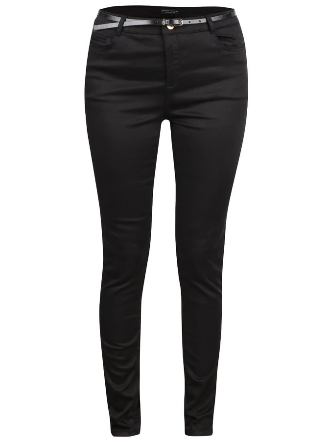 Černé skinny kalhoty s páskem Dorothy Perkins