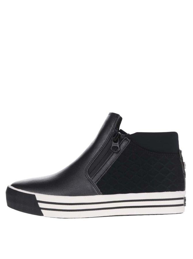Modro-černé dámské boty s prošívanou patou Tommy Hilfiger