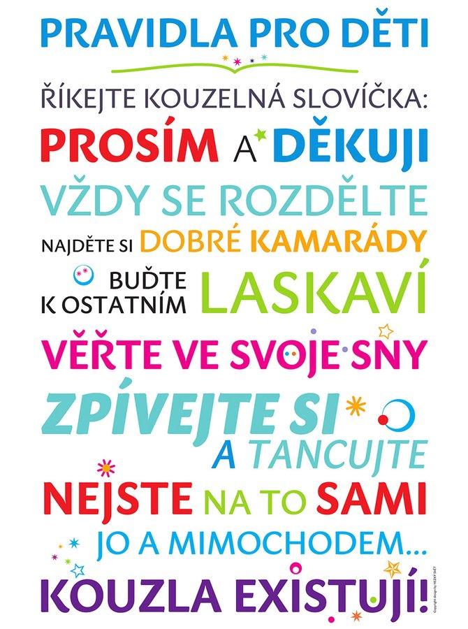 Bílý plakát  HEZKÝ SVĚT Pravidla pro děti