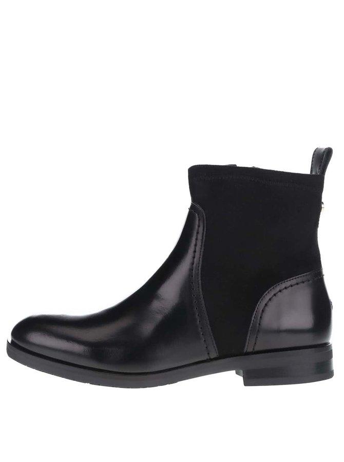 Černé kotníkové dámské kožené boty Tommy Hilfiger