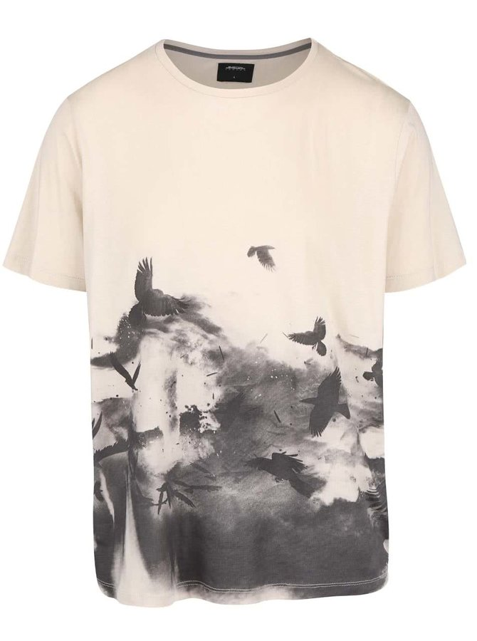 Tricou bej cu imprimeu păsări Burton Menswear London