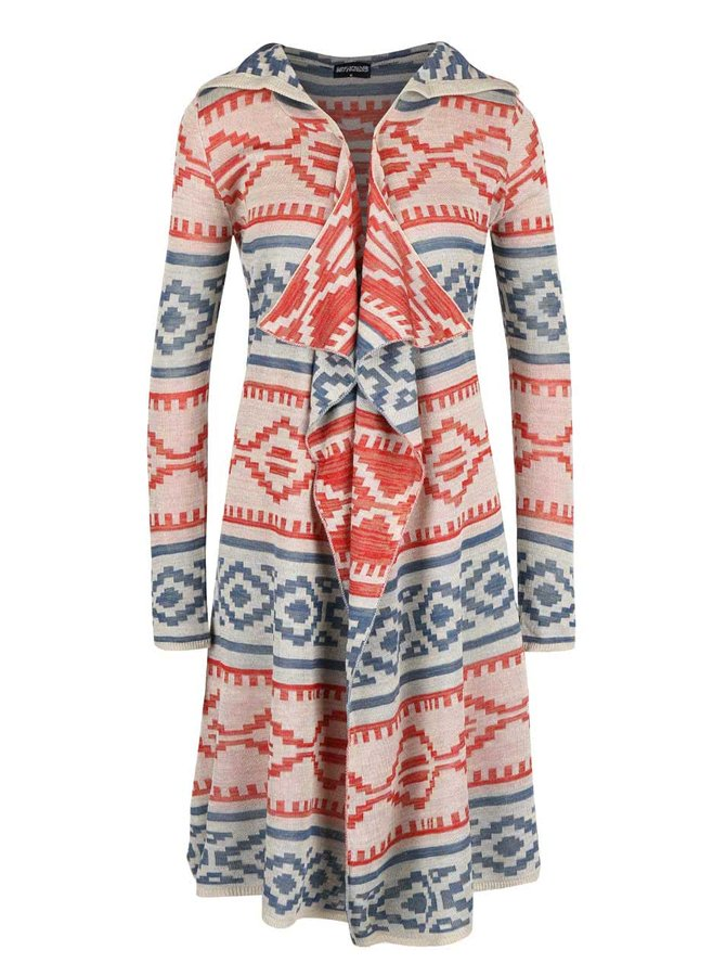 Červeno-béžový cardigan s kapucí Haily´s Celia