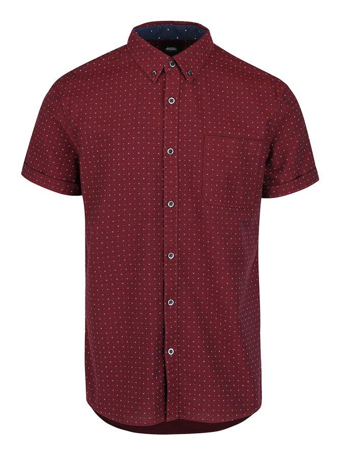 Vínová košeľa so vzorom a krátkymi rukávmi Burton Menswear London