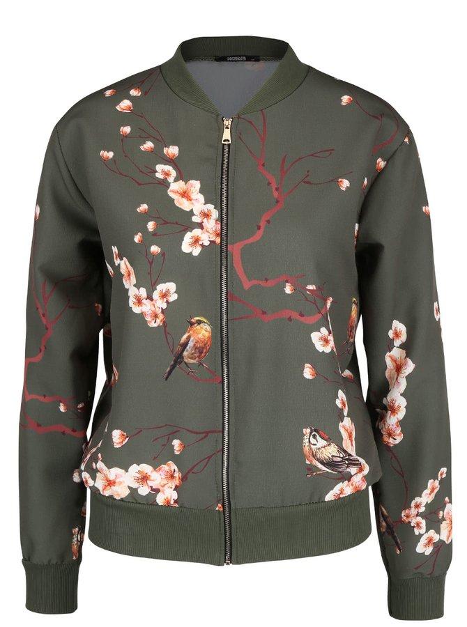 Jachetă bomber kaki Haily´s Cheryl cu imprimeu floral