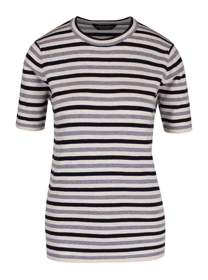 Šedo-modré pruhované svetrové tričko s krátkým rukávem Dorothy Perkins