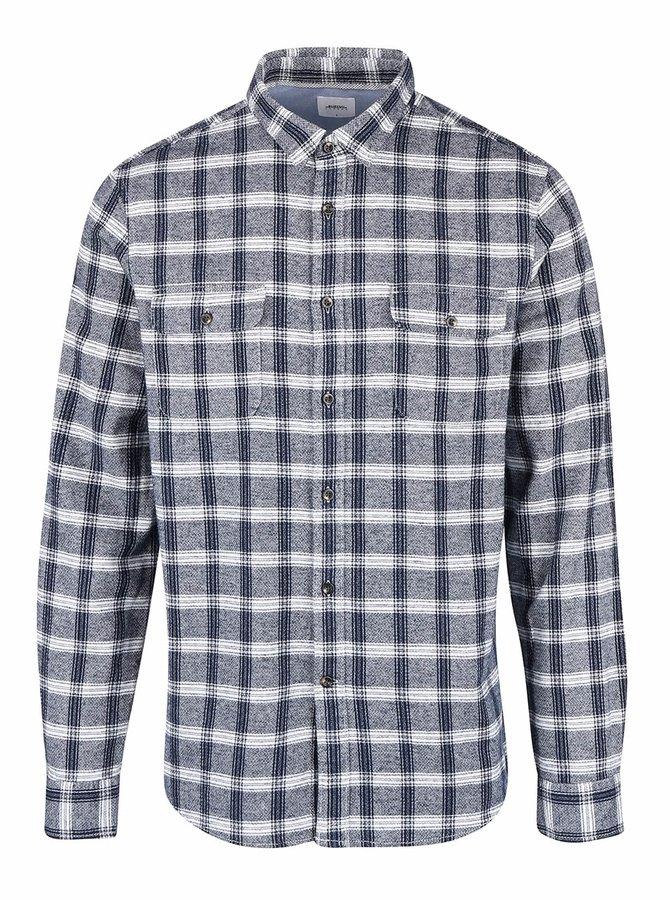 Krémovo-modrá károvaná košeľa Burton Menswear London