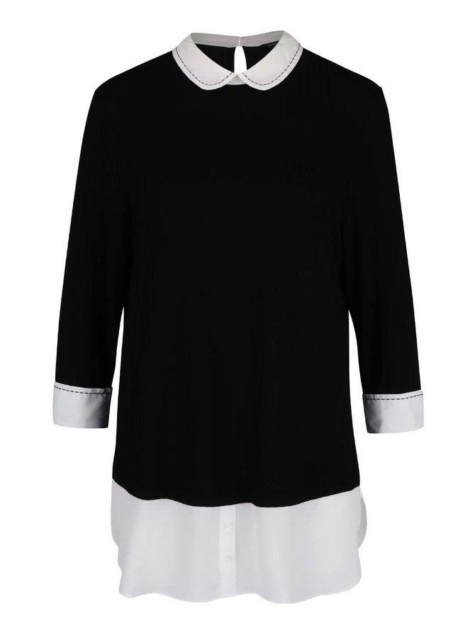 Krémovo-čierny rebrovaný top s všitou blúzkou Dorothy Perkins